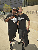 LOS ANGELES, CA - JULY 08: Rapper Daz Dillinger and Andre Truth attend the UNITY Protest Mach at the Los Angeles Police Department in Downtown Los Angeles on July 8, 2016 in Los Angeles, California. Credits: Koi Sojer/Snap'N U Photos/MediaPunch
