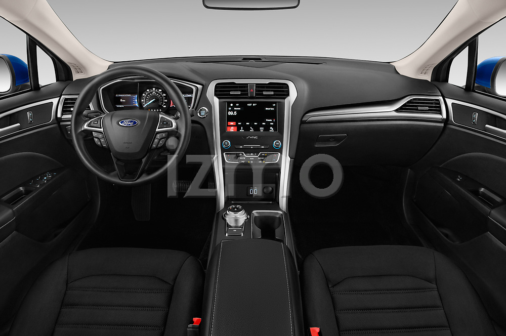 Stock photo of straight dashboard view of 2019 Ford Fusion SE 4 Door Sedan Dashboard