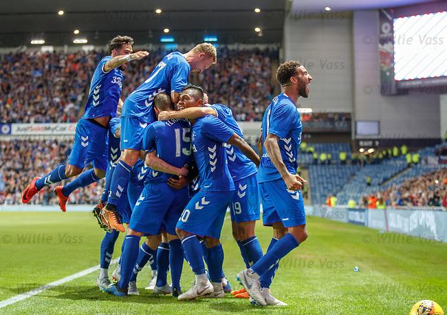 09.08.18 Rangers v Maribor: Rangers celebrate goal no 3