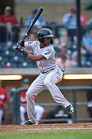 Grand Junction Rockies Julio Carreras (2) at bat during a Pioneer League game against the Billings Mustangs at Dehler Park on August 14, 2019 in Billings, Montana. Grand Junction defeated Billings 8-5. (Zachary Lucy/Four Seam Images)