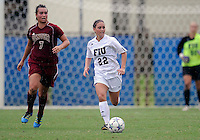 Florida International University women's soccer player Carlan Jones (22) plays against the University of Denver on October 16, 2011 at Miami, Florida. FIU won the game 1-0. .