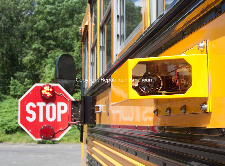 WOLCOTT, CT- JUNE 14 2011-061412DA02-  A demonstration of a Wolcott school bus camera used to cite people who speed past stopped school buses was held at the Wolcott Bus yard on Thursday..Darlene Douty Republican American