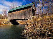 Bowers or Brownsville Covered Bridge in Brownsville, Vermont USA on Bible Hill Road. This bridge crosses over Mill Brook.