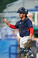 Lowell Spinners catcher Alan Marrero (21) during a game against the Batavia Muckdogs on July 16, 2018 at Dwyer Stadium in Batavia, New York.  Lowell defeated Batavia 4-3.  (Mike Janes/Four Seam Images)