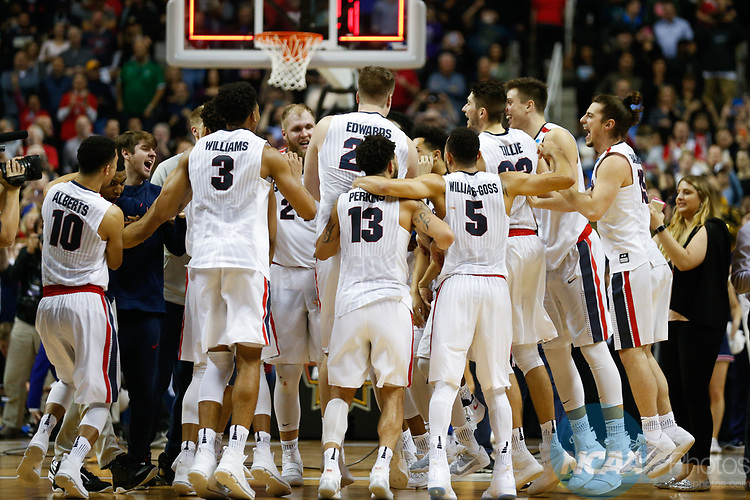 SAN JOSE, CA - MARCH 25: The Gonzaga Bulldogs celebrate a 83-59 win over the Xavier University Musketeers  during the 2017 NCAA Men's Basketball Tournament West Regional held at SAP Center on March 25, 2017 in San Jose, California. (Photo by Jed Jacobsohn/NCAA Photos via Getty Images)