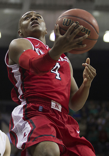 January 19, 2013:  Rutgers guard Myles Mack (4) goes up for a shot during NCAA Basketball game action between the Notre Dame Fighting Irish and the Rutgers Scarlett Knights at Purcell Pavilion at the Joyce Center in South Bend, Indiana.  Notre Dame defeated Rutgers 69-66.