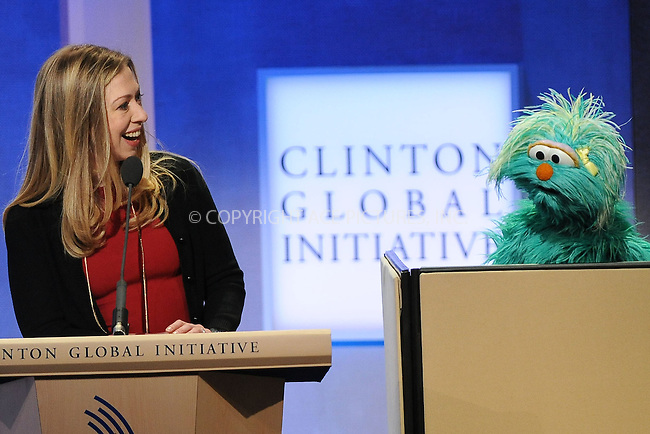WWW.ACEPIXS.COM<br /> September 24, 2013 New York City<br /> <br /> Chelsea Clinton and Rosita, Sesame Street, Muppet on stage during the annual Clinton Global Initiative (CGI) meeting on September 24, 2013 in New York City.<br /> <br /> By Line: Kristin Callahan/ACE Pictures<br /> <br /> ACE Pictures, Inc.<br /> tel: 646 769 0430<br /> Email: info@acepixs.com<br /> www.acepixs.com<br /> <br /> Copyright: Kristin Callahan/ACE Pictures