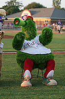 Batavia Muckdogs had the Phillie Phanatic on hand during a NY-Penn League game at Dwyer Stadium on August 4, 2006 in Batavia, New York.  (Mike Janes/Four Seam Images)