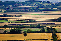 Train travels through Cotswolds countryside, Oxfordshire, United Kingdom