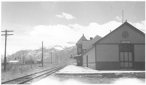 Freight house end of Ridgway depot.<br /> RGS  Ridgway, CO