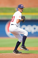 Relief pitcher Hoby Milner #43 (Texas) of the USA Baseball Collegiate National Team in action against the Japan Collegiate National Team at the Durham Bulls Athletic Park on July 3, 2011 in Durham, North Carolina.  USA defeated Japan 7-6.  (Brian Westerholt / Four Seam Images)