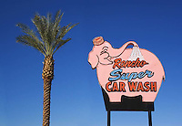 The Rancho Super Car Wash sign located on the Palm Desert Highway in Rancho Mirage, California.