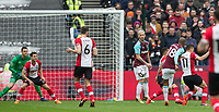 Joao Mario of West Ham United scores a goal to make it 1-0 during the EPL - Premier League match between West Ham United and Southampton at the Olympic Park, London, England on 31 March 2018. Photo by Andy Rowland.