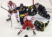 Ryan Cloonan (BU - 8), Marc Biega (Merrimack - 4), Patrick Harper (BU - 21), Collin Delia (Merrimack - 1), Jonathan Lashyn (Merrimack - 7) - The visiting Merrimack College Warriors defeated the Boston University Terriers 4-1 to complete a regular season sweep on Friday, January 27, 2017, at Agganis Arena in Boston, Massachusetts.The visiting Merrimack College Warriors defeated the Boston University Terriers 4-1 to complete a regular season sweep on Friday, January 27, 2017, at Agganis Arena in Boston, Massachusetts.