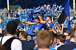20.04.2019, Carl Benz Stadion, Mannheim, GER, RL Sued, SV Waldhof Mannheim vs. VfR Wormatia Worms, <br /> <br /> DFL REGULATIONS PROHIBIT ANY USE OF PHOTOGRAPHS AS IMAGE SEQUENCES AND/OR QUASI-VIDEO.<br /> <br /> im Bild: Die Mannheimer Spieler, mit dabei Maurice Deville (SV Waldhof Mannheim #14) und Jannik Sommer (SV Waldhof Mannheim #20) feiern den Aufstieg inmitten der Fans<br /> <br /> Foto © nordphoto / Fabisch