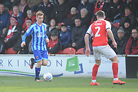 Blackpool's Connor Ronan under pressure from Fleetwood Town's Lewie Coyle<br /> <br /> Photographer Kevin Barnes/CameraSport<br /> <br /> The EFL Sky Bet League One - Fleetwood Town v Blackpool - Saturday 7th March 2020 - Highbury Stadium - Fleetwood<br /> <br /> World Copyright © 2020 CameraSport. All rights reserved. 43 Linden Ave. Countesthorpe. Leicester. England. LE8 5PG - Tel: +44 (0) 116 277 4147 - admin@camerasport.com - www.camerasport.com