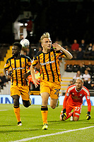 GOAL - Jarrod Bowen of Hull City equalises during the Sky Bet Championship match between Fulham and Hull City at Craven Cottage, London, England on 13 September 2017. Photo by Carlton Myrie.