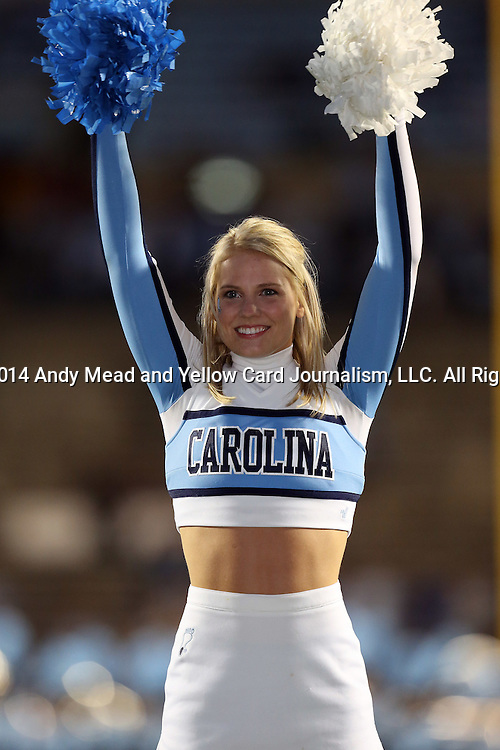18 October 2014: UNC cheerleader. The University of North Carolina Tar Heels hosted the Georgia Tech Yellow Jackets at Kenan Memorial Stadium in Chapel Hill, North Carolina in a 2014 NCAA Division I College Football game. UNC won the game 48-43.