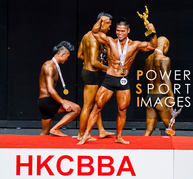 Winners of the South China Men's Athletic Physique 170-173cm category during the 2016 Hong Kong Bodybuilding Championships on 12 June 2016 at Queen Elizabeth Stadium, Hong Kong, China. Photo by Lucas Schifres / Power Sport Images