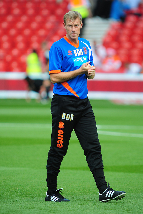 Blackpool&rsquo;s assistant manager Bart De Roover during the pre-match warm-up <br /> <br /> Photographer Chris Vaughan/CameraSport<br /> <br /> Football - The Football League Sky Bet Championship - Nottingham Forest v Blackpool - Saturday 9th August 2014 - The City Ground - Nottingham<br /> <br /> &copy; CameraSport - 43 Linden Ave. Countesthorpe. Leicester. England. LE8 5PG - Tel: +44 (0) 116 277 4147 - admin@camerasport.com - www.camerasport.com