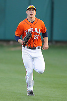 Virginia Cavaliers right fielder Joe McCarthy #31  during a game against the Clemson Tigers at Doug Kingsmore Stadium on March 15, 2013 in Clemson, South Carolina. The Cavaliers won 6-5.(Tony Farlow/Four Seam Images).