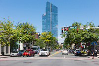 A view down Mamaroneck Avenue toward the Residences at the Ritz-Carlton, Westchester, in White Plains, New York.