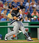 15 August 2008: Colorado Rockies' left fielder Matt Holliday in action against the Washington Nationals at Nationals Park in Washington, DC.  The Rockies edged out the Nationals 4-3, handing the last place Nationals their 8th consecutive loss. ..Mandatory Photo Credit: Ed Wolfstein Photo