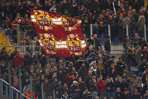 17.02.2016. Stadio Olimpico, Rome, Italy. UEFA Champions League, Round of 16 - first leg, AS Roma versus Real Madrid. FANS OF AS ROMA with a banner