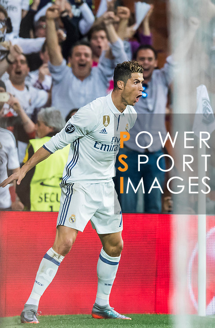 Cristiano Ronaldo of Real Madrid celebrates during their 2016-17 UEFA Champions League Semifinals 1st leg match between Real Madrid and Atletico de Madrid at the Estadio Santiago Bernabeu on 02 May 2017 in Madrid, Spain. Photo by Diego Gonzalez Souto / Power Sport Images