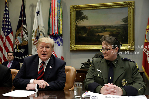 "United States President Donald J. Trump talks to the media during a briefing on drug trafficking on the Southern Border at the White House in Washington on February 13, 2019. The President said the FAA will soon announce it is grounding the Boeing 737 MAX 8 and 737 MAX 9 ""Until further notice,"" he said  ""The safety of the American people, of all people, is our paramount concern.""<br /> Credit: Yuri Gripas / Pool via CNP"