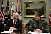 """United States President Donald J. Trump talks to the media during a briefing on drug trafficking on the Southern Border at the White House in Washington on February 13, 2019. The President said the FAA will soon announce it is grounding the Boeing 737 MAX 8 and 737 MAX 9 """"Until further notice,"""" he said  """"The safety of the American people, of all people, is our paramount concern.""""<br /> Credit: Yuri Gripas / Pool via CNP"""