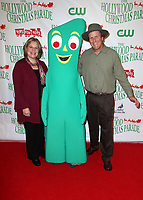 HOLLYWOOD, CA - NOVEMBER 26: Joan Clokey, Gumby, Joe Clokey, at 86th Annual Hollywood Christmas Parade at Hollywood Blvd in Hollywood, California on November 26, 2017. Credit: Faye Sadou/MediaPunch /NortePhoto NORTEPHOTOMEXICO