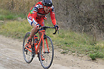 Nicola Bagioli (ITA) Nippo-Vini Fantini on gravel sector 6 Pieve a Salti during the 2017 Strade Bianche running 175km from Siena to Siena, Tuscany, Italy 4th March 2017.<br /> Picture: Eoin Clarke | Newsfile<br /> <br /> <br /> All photos usage must carry mandatory copyright credit (&copy; Newsfile | Eoin Clarke)