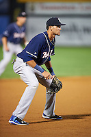 New Hampshire Fisher Cats third baseman Emilio Guerrero (13) during a game against the Harrisburg Senators on July 21, 2015 at Metro Bank Park in Harrisburg, Pennsylvania.  New Hampshire defeated Harrisburg 7-1.  (Mike Janes/Four Seam Images)