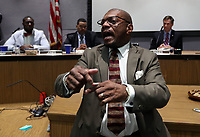 Resident Don Gethers gets heated as he speaks to council  during the Charlottesville City Council meeting Monday night in Charlottesville, Va. Photo/Andrew Shurtleff