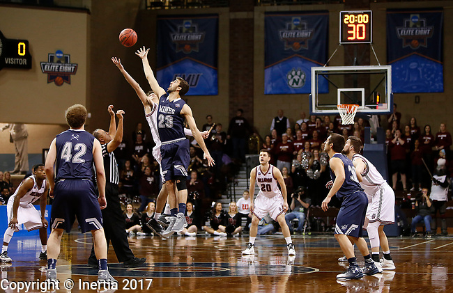 SIOUX FALLS, SD: MARCH 22: Colorado Mines and Bellarmine tip off in during the Men's Division II Basketball Championship Tournament on March 22, 2017 at the Sanford Pentagon in Sioux Falls, SD. (Photo by Dick Carlson/Inertia)