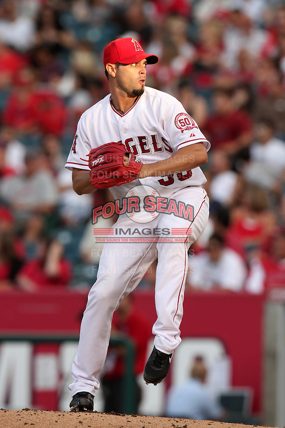 Los Angeles Angels pitcher Joel Pineiro #35 pitches against the Baltimore Orioles at Angel Stadium on August 20, 2011 in Anaheim,California. Los Angeles defeated Baltimore 9-8.(Larry Goren/Four Seam Images)