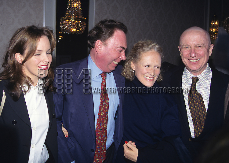 Alice Ripley, Andrew Lloyd Webber, Glenn Close, George Hearn pictured at the 61st Annual Drama League Awards for the theatre at the Plaza Hotel in New York City on March 5, 1995.