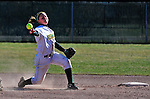 15 April 2009: University of Vermont Catamount infielder Rebecca Heimbigner, a Freshman from Napa, CA, in action against the University at Albany Great Danes at Archie Post Field in Burlington, Vermont. The Great Danes swept the Catamounts 2-0 and 12-0 in the afternoon double-header. Mandatory Photo Credit: Ed Wolfstein Photo