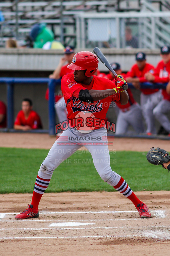 Peoria Chiefs outfielder Vince Jackson (40) swings at a pitch during a Midwest League game against the Beloit Snappers on April 15, 2017 at Pohlman Field in Beloit, Wisconsin.  Beloit defeated Peoria 12-0. (Brad Krause/Four Seam Images)