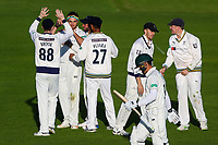 Picture by Alex Whitehead/SWpix.com - 22/04/2018 - Cricket - Specsavers County Championship Div One - Yorkshire v Nottinghamshire, Day 3 - Emerald Headingley Stadium, Leeds, England - Yorkshire's Jack Brooks celebrates with team-mates after taking the wicket of Notts' Ross Taylor.