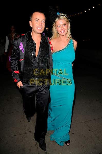 JULIEN MACDONALD & TARA REID.Attending Andy & Patti Wong's Chinese New Year Party, County Hall, Westminster Bridge Road, London, England, 26th January 2008. .full length green dress one shoulder turquoise hairband black suit jacket shirt red purple butterflies.CAP/CAN.©Can Nguyen/Capital Pictures