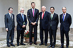"The rector of the University of Alcala de Henares, Fernando Galban, Antonio Fraguas de Pablo ""Forjes"" , Spanish king, Felipe VI, spanish external subjects minister, José Manuel García-Margallo, and Alcala de Henares mayors, Javier Rodríguez Palacios after the Quevedos iberoamerican award of grafic humor 2014. May 26,2016. (ALTERPHOTOS/Rodrigo Jimenez)"