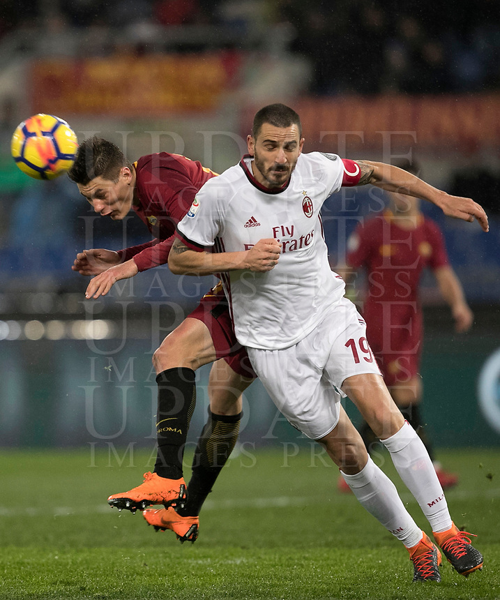 Calcio, Serie A: AS Roma - AC Milan, Roma, stadio Olimpico, 25 febbraio, 2018.<br /> Roma's Patrik Schick (l) in action with Milan's captain Leonardo Bonucci (r) during the Italian Serie A football match between AS Roma and AC Milan at Rome's Olympic stadium, February 28, 2018.<br /> UPDATE IMAGES PRESS/Isabella Bonotto