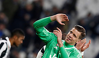 Calcio, Serie A: Juventus - Genoa, Torino, Allianz Stadium, 22 gennaio 2018. <br /> Juventus' goalkeeper Wojciech Szczesny celebrates after winning 1-0 the Italian Serie A football match against Genoa at Torino's Allianz stadium, January 22, 2018.<br /> UPDATE IMAGES PRESS/Isabella Bonotto