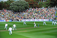 A general view of play during day one of the 2nd cricket test match between the New Zealand Black Caps and Sri Lanka at the Hawkins Basin Reserve, Wellington, New Zealand on Saturday, 3 February 2015. Photo: Dave Lintott / lintottphoto.co.nz