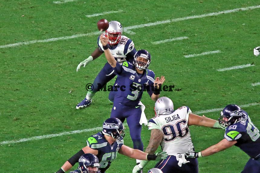 QB Russell Wilson (3, Seahawks) wirft einen Pass - Super Bowl XLIX, Seattle Seahawks vs. New England Patriots, University of Phoenix Stadium, Phoenix