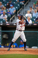 Gwinnett Braves second baseman Luis Valenzuela (1) at bat during a game against the Buffalo Bisons on August 19, 2017 at Coca-Cola Field in Buffalo, New York.  Gwinnett defeated Buffalo 1-0.  (Mike Janes/Four Seam Images)