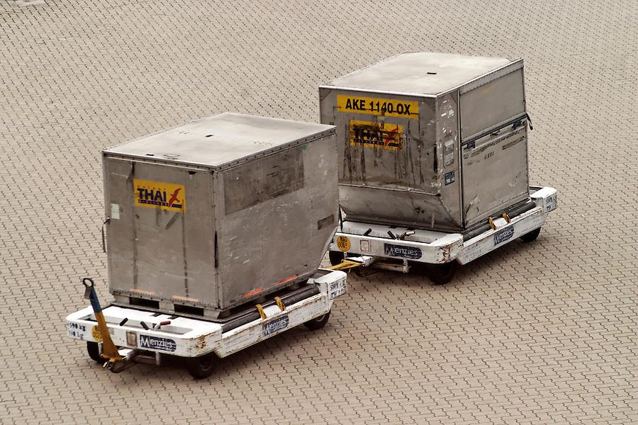Two LD-3 container on carts, Hong Kong International Airport, Hong Kong SAR, China, Asia