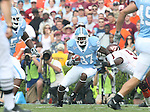 09 September 2006: North Carolina's Brandon Tate (87) gets past Virginia Tech's Vince Hall (9). The University of North Carolina Tarheels lost 35-10 to the Virginia Tech Hokies at Kenan Stadium in Chapel Hill, North Carolina in an Atlantic Coast Conference NCAA Division I College Football game.